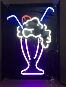 "Milkshake Float Neon Sign Jantec 17.75""x24"" Super Bright & Colorful Works Great!"