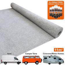 11m2 Van Carpet Lining Camper Motor Home Stretch Trim 5 Adhesive Can Silver Grey