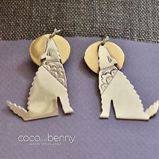 Vintage BIG BOLD Navajo Coyote Howling at the Moon Sterling Silver Earrings