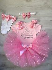 Baby girl First 1st birthday tutu outfit Personalised cake smash pink And Silver