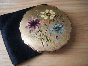 Vintage Stratton Powder Compact, Flowers, Floral design