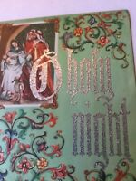 Vintage 1940s Embossed Christmas Greeting Card Madonna heavily glittered