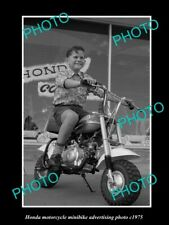 OLD POSTCARD SIZE PHOTO OF HONDA MINIBIKE MOTORCYCLES ADVERTISMENT c1975 1