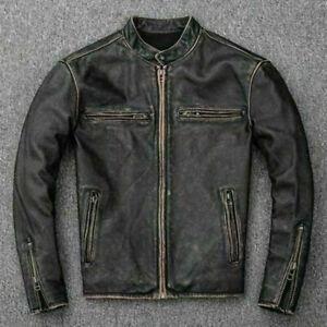 Men's Motorcycle Biker Vintage Distressed Black Faded Real Leather Jacket