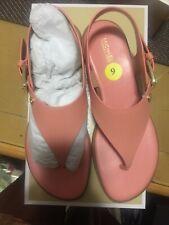Michael Kors London Flat Peach Leather Sandals Size 9