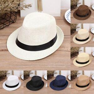 Kids Boys Summer Beach Sun Hat Jazz Panama Trilby Fedora Hat Gangster Caps VP .