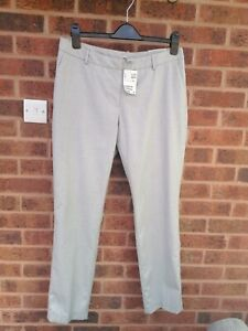 H&M Slim Leg Light Grey Trousers Size 16
