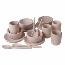 Children's Wooden Tea/Dinner Set, 100% Natural (Treasure Basket) EYFS Montessori