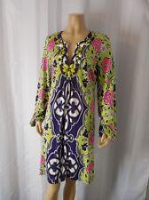 HALE BOB Jersey Knit Dress size Medium green blue pink beaded neckline 100% Silk