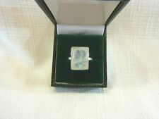 Natural Rectangle Moonstone Sterling Silver Solitaire Ring US (9 3/4) AU (T 1/4)