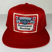 Vintage Budweiser Racing Patch Mesh Snapback Trucker Hat Made in USA