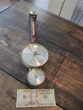Vintage Airguide Barometer Thermometer Banjo Antique Old Brass Wood