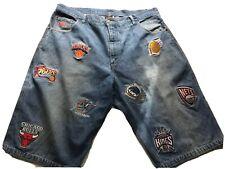 UNK NBA Embroidered Team Patch Denim Jean Men Shorts Size 42 Vintage 90's