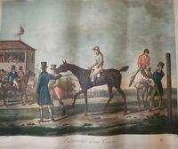 "Antique 1800's ""Preparatifs Dune Course"" Hourse Lithograph Print - As Found"