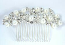 Warren James Sterling Silver Pearl & Swarovski Hair Comb - Bridal