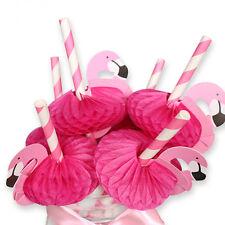 50PCS 3D Flamingo Pink Cocktail Plastic Umbrella Drinking Straws Party Supplies