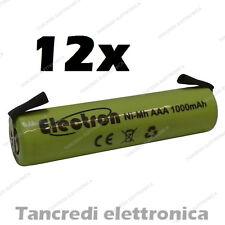 12x 1,2 v 1000 mAh ministilo AAA terminali lamelle a saldare uso generico 900mAh