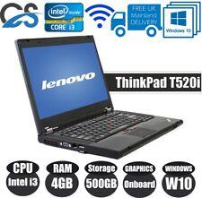 "WINDOWS 10 PRO Lenovo ThinkPad T520i 15.6"" LAPTOP CORE Intel i3 4GB 500GB HDD"