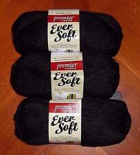 Premier Ever Soft Yarn Lot Of 3 Skeins (Black #70-34) 3 oz.