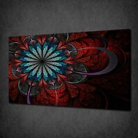 RED BLUE FRACTAL FLOWER MODERN CANVAS WALL ART PRINT PICTURE READY TO HANG
