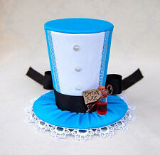 Alice In Wonderland mini top hat fascinator punk goth steam punk key drink me