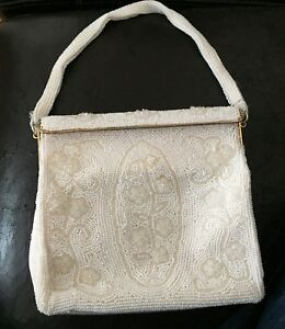 Vintage White beaded and Elegant Evening Bag Purse Clutch