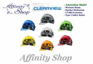 3 Clearview Hard Hat NEW Ratchet Mechanism! Vented Helmet Australian Made Caps