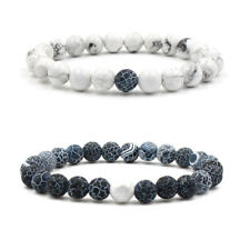 8mm White Turquoise Grey Weathered Agate Men's & Women's Elastic Bracelet