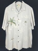 PARADISE FOUND Mens Beige Floral Palms S/S Hawaiian Camp Shirt XL Rayon