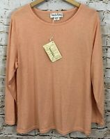 Diane Von Furstenberg DVF shirt top womens large peach long sleeve crew new B8