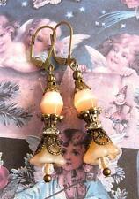 Art Deco Style Peach Girly Czech Glass Bell Flower Rhinestone Rondelle Earrings