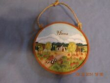 "RUSS BERRIE Handpainted Wall Plaque Home Pumpkin Harvest Homecoming 4 1/2"" Round"