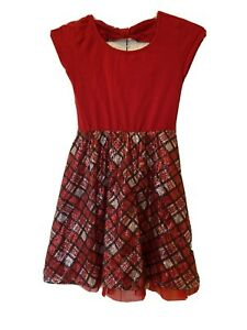 Girls Justice Size 10 Red Plaid Sequin Dress