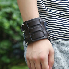 Mens Cowboy Punk Genuine Leather Metal Ring Buckle Bracelet Wristband Cuff