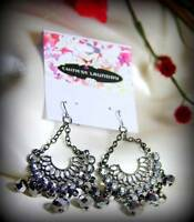 Chinese Laundry Sparkling Austrian Crystal Hematite Chandelier Earrings