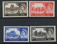 GB 1963 castles watermark Multiple crowns SG595a-598a MNH mint set of stamps
