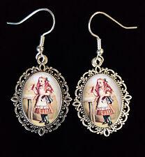 Alice in Wonderland DRINK ME Tenniel Antique Silver Drop Earrings Steampunk Goth