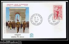 1971//FRANCE-FDC**HOMMAGE GENERAL DE GAULLE-OBL.52.COLOMBEY**TIMBRE..Y/T.1696