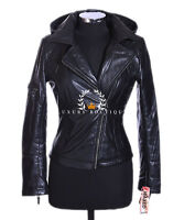 Emma Black Ladies Biker Style Hooded Retro Real Soft Sheep Leather Jacket