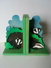 Wooden bookends - Badgers
