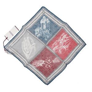 NWT RODA Blue-Gray-Red Quadrant Print Lightweight Linen Pocket Square