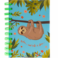 Sloth Spiral Notebook Lined Notepad Hardback A6 Kids Stationery Back to School
