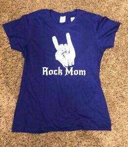 Rock Mom Short Sleeve T Shirt (Rockstar Cheer) Purple Size Medium