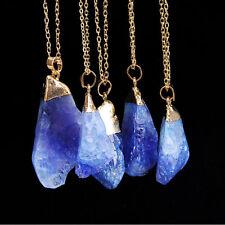 Fashion Lady Natural Crystal Quartz Stone Gemstone Pendant Irregular Necklace