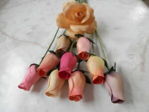 Small Bud Wood Roses - Multi Colored Yellow Pink Purple 10 Pieces