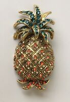 Vintage style  pineapple Brooch pin in enamel on gold  tone metal