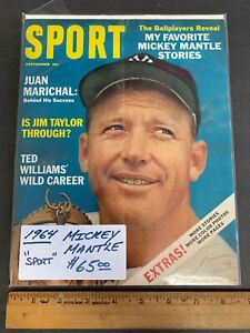 """1964 SEPTEMBER  """"SPORT"""" MAGAZINE *MICKEY MANTLE* COVER NEWSSTAND (MS) 91021"""