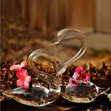 Hand Blown Glass Swan Clear Vase Plant Clippings for Wedding Centerpieces 1 pair