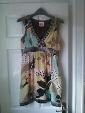 LIPSY BLACK WHITE PINK GREEN BEIGE CORAL SILK PARTY DRESS SIZE 10 WARN ONCE