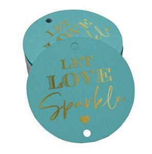 Inkdotpot Pack Of 100 Real Gold Foil Paper Tags Let Love Sparkle-ZKk